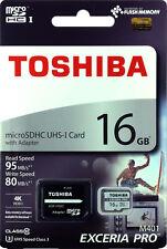 TOSHIBA Micro SD Card 16GB UHS-I U3 4K EXCERIA PRO M401 microSD Memory Card