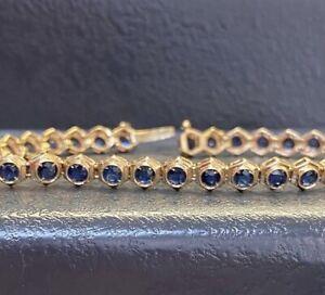 Natural Sapphire & 14k Gold Tennis Bracelet Hexagon Set