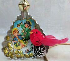 Tart Tin Diorama Christmas Ornament Handmade with Vintage & Supply Items Bird ~