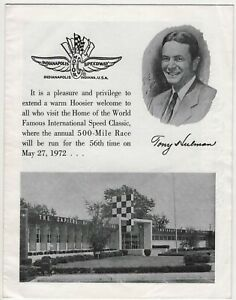 Indy 500 Indianapolis Motor Speedway 1972 Vintage Brochure Winners Aerial Map