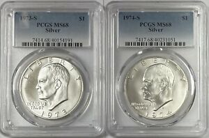 1973 S & 1974 S Eisenhower Ike Silver Dollars PCGS MS68 2 Coin Set