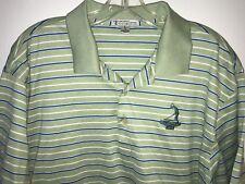 Peter Millar Pinehurst 1895 XL Golf Shirt Green Blue White Striped Cotton