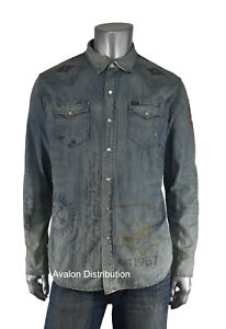Polo Ralph Lauren Limited Edition Distressed Repaired RRL Style Denim Shirt New