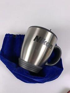 Black & Stainless Steel Nikon Travel Mug Cup With Lid & Blue Velvet Bag