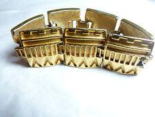 Vintage heavy gold tone metal Aztec design linked bracelet signed Monet