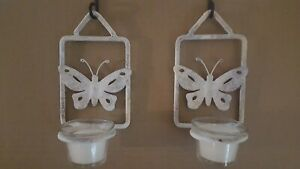 2 Metal Glass Butterfly Sconce Tea Light Candle Holder Decor Wall Home Style New