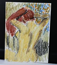 "9"" x 12""  Pastel and Conte Crayon Drawing Colored Paper Red Hair Woman Nude Back"