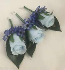 3 x SILK WEDDING FLOWER LIGHT BLUE ROSE BUTTON HOLES GYP FLOWERS GROOM PIN HOLE