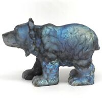 "5.6"" Bear Natural Gemstone Labradorite Crystal Carved Animal Figurine Home Decor"