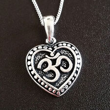 925 Sterling Silver Necklace with yoga life ohm heart pendant gift uk