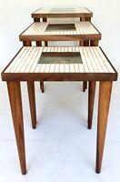 Hohenberg Original Mid Century Modern Nesting Tables 3 Mosaic Tile Side Tables