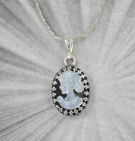 CAMEO PENDANT  NECKLACE  HAND CARVED SHELL STERLING SILVER SETTING