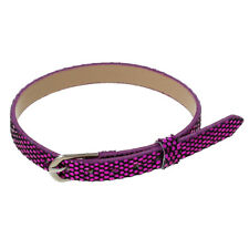 "9"" Purple Sequin Belt Buckle Faux Leather Silver Tone Adjustable Size Bracelet"