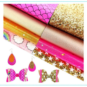 Faux Leather Sheets Bundle 8 Pcs Mixed Gold Pink Series A4 Synthetic Leather