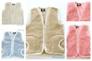 Quality Childrens Merino Wool 100% Natural BABY Body Warmer Vest Waistcoat