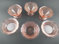 Jeanette Pink Depression Cherry Blossom 3 Berry/Dessert Bowls and 3 Sherbets