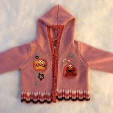 Nannette Sesame Street Elmo Zoe Pink Open Front Cardigan Sweater Baby Girl 12m