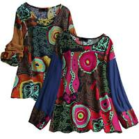 Plus Size Women Floral Tunic Loose Blouse Casual Long Sleeve Crew Neck Tops US