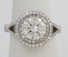 Supreme 1.92 ct Platinum Round Cut Diamond Double Halo Engagement Ring GIA