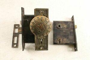 Amazing Antique Fancy Mallory & Wheeler Brass Bronze Door Knob Handle Set & Extr