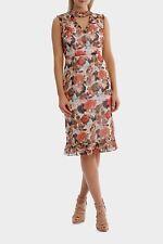 Brand New W Tags JAYSON BRUNSDON V Neck Photographic Print Ruffle Dress Size 12
