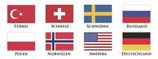 8 Fahnen a' 3 Stück Folienaufkleber Flaggen verschiedene Länder