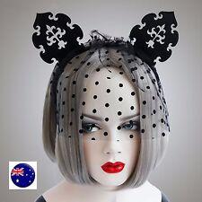 Women Girl Black Kitty Ear Veil Prom Race Fascinator Party Hair headband Prop
