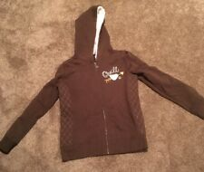 O'Neill Girls Brown Zip Up Fleece Lined Hoodie Sweatshirt Size L NO RESERVE