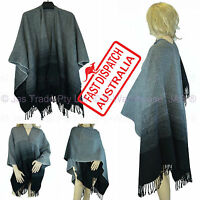 Winter Ladies Fashion Shawl Wrap Poncho Big Blanket Scarf Cape Black Grey Gray