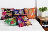 5 PC Lot Indien Handmade Floral Décor Maison Sol Kantha Broderie Coussin Housse