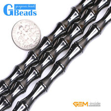 Natural Black Hematite Gemstone Bamboo Beads For Jewelry Making Free Shipping