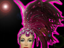 Purple Showgirl Drag Carnival Cabaret Dance Costume Sequin Feather Headdress