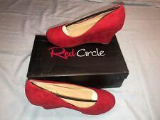 "Ladies NIB Red Circle SZ 9 red sueded fabric wedge heels, ""Kissania""  Beautiful"