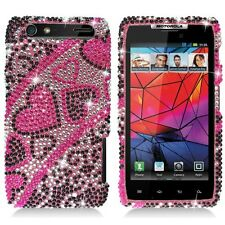 For Motorola DROID RAZR Crystal Diamond BLING Case Phone Cover Black Red Hearts