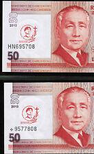 2013 PHILIPPINES 50 peso Saint Pedro Calungsod, 2 pcs, REGULAR & STAR Notes, UNC