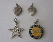 Vintage BETA SIGMA PHI Sterling Silver Bracelet CHARMS 1956 1963 1967 Enamel +