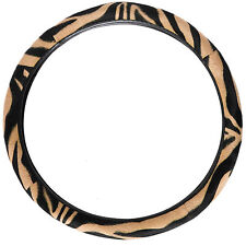 Zebra Pattern Beige Car Thick Steering Wheel Cover Universal Fit 14.5''-15.5''