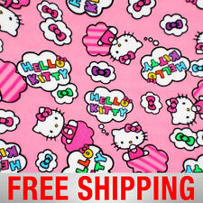 "Fleece Fabric Hello Kitty Clouds Bows Anti Pill 60"" Wide Free Shipping EE 50732"