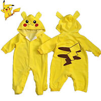 Pokemon Pikachu Newborn Outfit Boy Girl Romper Baby Clothes Cosplay Halloween