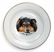 Rough Coated Lurcher Gold Rim Plate in Gift Box Christmas Present AD-LU6PL