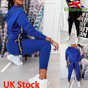 Womens Tracksuit Set Hooded Sweatshirt Tops Long Pants Casual Ladies Lounge Wear