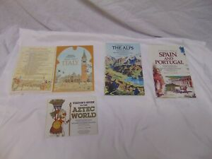 (4) vintage National Geographic Travelers Maps Italy Spain Portugal Aztec Alps
