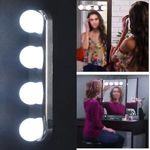 Vanity Mirror Studio Glow Make Up Bright Cosmetic Portable 4 LED Light Bulbs UK