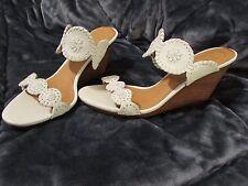 JACK ROGERS LUCCIA White Wedge Sandals,10M,Bridal,Summer,wedding NICE!