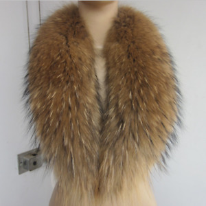 100% Real Raccoon Fur Women Natural Winter Dress Genuine Collar Scarf