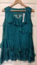 LADIES PER UNA BY M & S FRILLED EMERALD BLOUSE WITH INNER VEST SIZE 14 BRANDNEW.