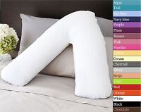 V SHAPED BACK NECK SUPPORT PILLOW AND CASE COVER ORTHOPAEDIC PREGNANCY MATERNITY