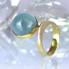 Ring in 585/- Gelbgold glänzend Handarbeit - mit 1 Aquamarin - Cabochonschliff