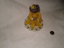 Safety Pin Doll, Vintage, Beaded, Tramp Art, Yellow & White