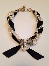 **Lanvin** Dress Crystal Bow and Faux Pearl Necklace